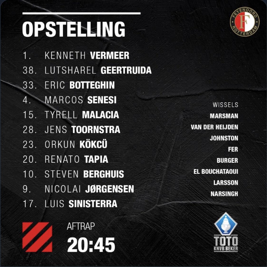 Opstelling Feyenoord Met Tapia Tegen Cambuur Leeuwarden Feyenoord In Beeld